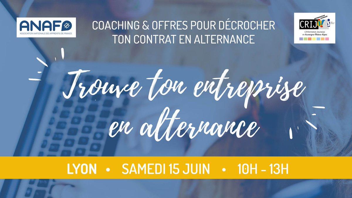 [agenda] 🗓 l'@anaf_fr poursuit son tour de France dédié aux futur.e.s apprenti.e.s ! Prochain stop à Lyon ce samedi 15 juin de 10h à 13h.  ✅ Au programme offres d'alternance et coaching individuel. Munissez-vous de votre CV !  Sur inscription 👉 https://t.co/Oq1qLg0Hi2 https://t.co/qf1JHtCODp