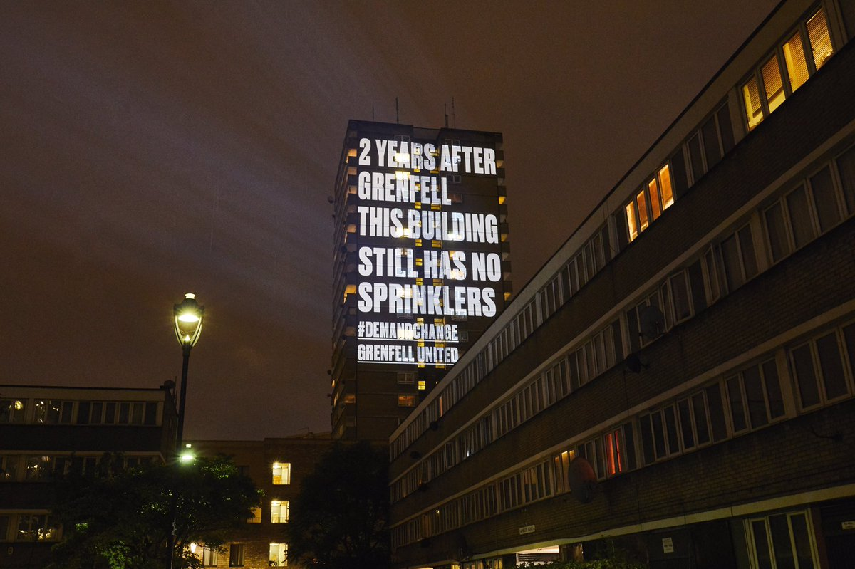 2 years after the Grenfell Tower fire, people are still going to bed at night in buildings wrapped in dangerous cladding, with no sprinklers & fire doors not fit for purpose. Support @GrenfellUnited & #DemandChange https://support.grenfellunited.org