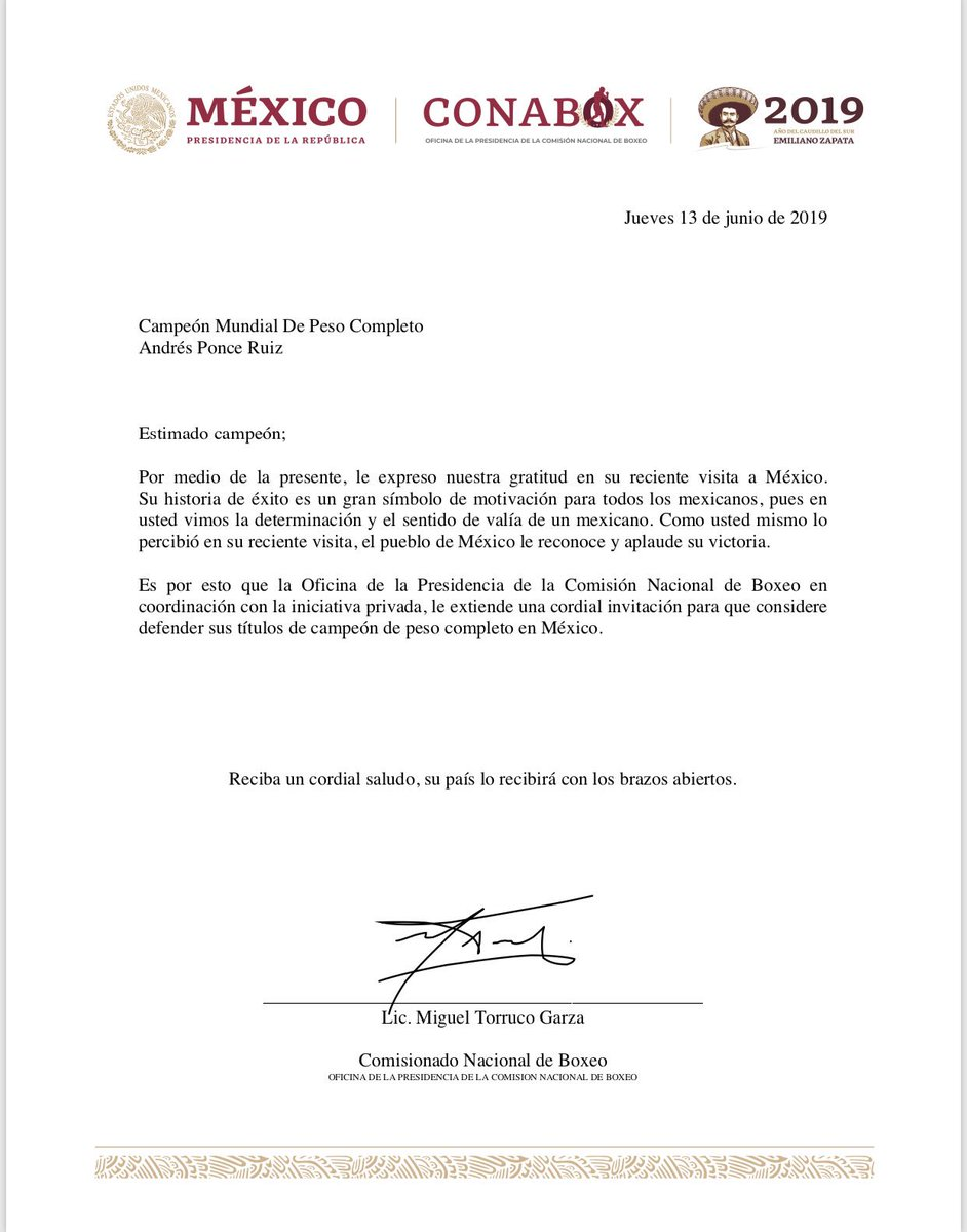 Estimado campeón Andy Ruiz, ojalá puedas defender tus títulos en México. Nos vemos pronto. 🇲🇽 🥊 @Andy_destroyer1 https://t.co/QFniPydYby