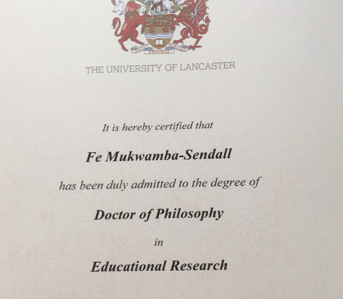 "Fe is truly an inspiration for everyone who has been let down by the education system, or who has ""fallen between the cracks"". Huge congratulations Dr. Fe Mukwamba-Sendall ❤️💯 @edresphd"