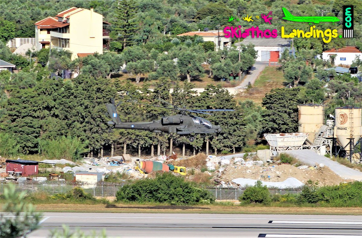 Low-pass on runway 19 yesterday (13 June 2019), formation of  Hellenic Army 2x AH-64 Apache and 1x UH-1H Huey. One of the AH-64  during low-pass. #HellenicArmy #Armyaviation #Apache #AH64 #UH1H #Huey #lowpass #jsi #lgsk