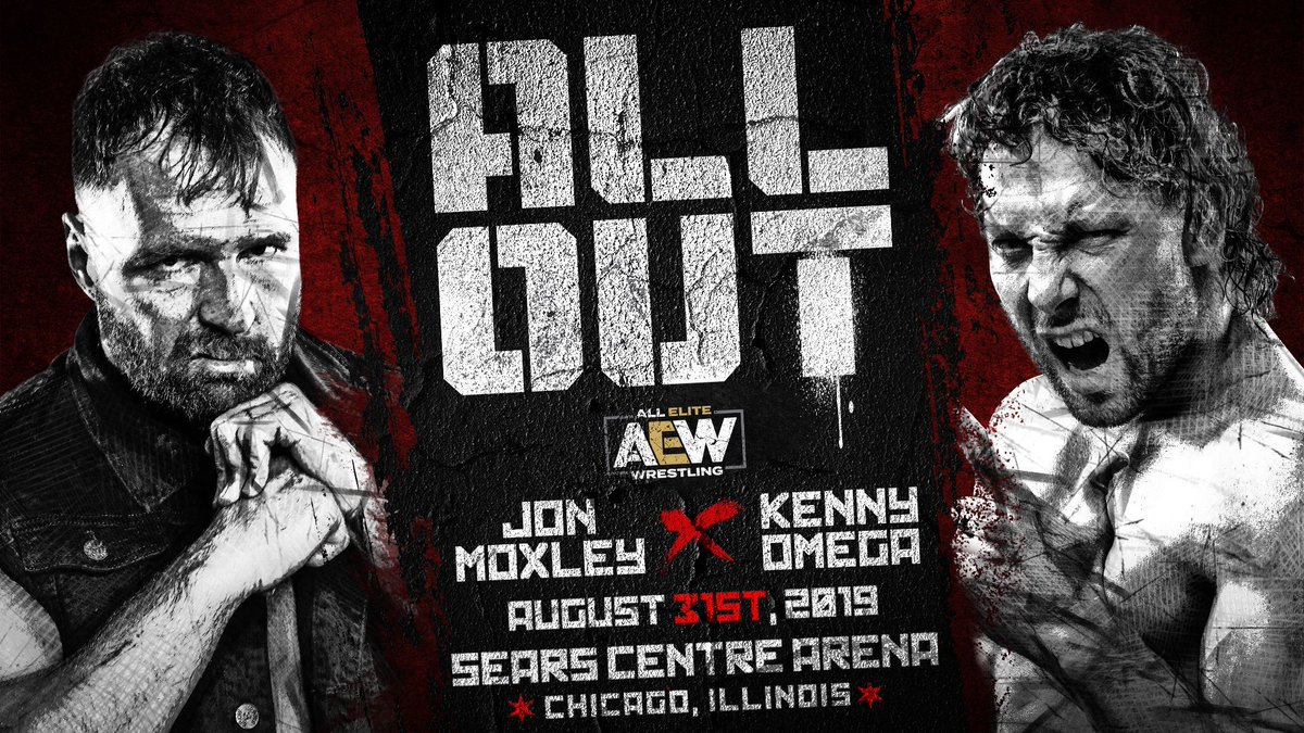 #AEWAllOut Saturday, August 31st, 2019 - @Sears_Centre @JonMoxley vs @KennyOmegamanX Tickets on sale tomorrow Friday,June 14th!  http:// AEWTix.com      Noon Eastern / 11am Central / 9am Pacific<br>http://pic.twitter.com/ZJr2Z2aAxs