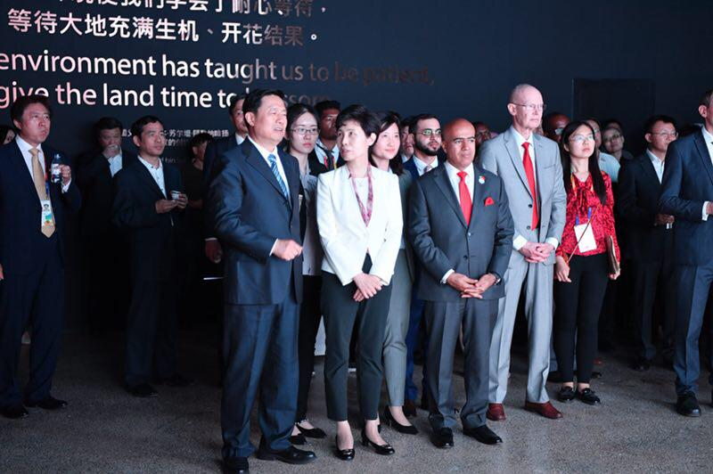 The #UAE Ambassador to China joined the UAE Pavilion, 'Greening the Desert' at Beijing Expo with the Chairperson of #China Council for the Promotion of International Trade (CCPIT) and the Vice Chairperson of the Organizing Committee of Expo 2019 Beijing, Ms. Gao Yan #BeijingExpo