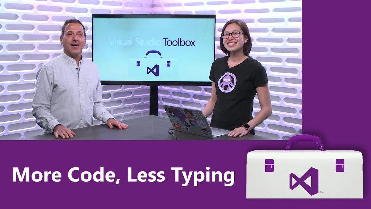 More code!       Less typing! More code!       Less typing! More code!       Less typing!  IntelliSense lets you get both.  @Allison_Au joins #VSToolbox to talk about this #VisualStudio feature: http://msft.social/BgBzzA
