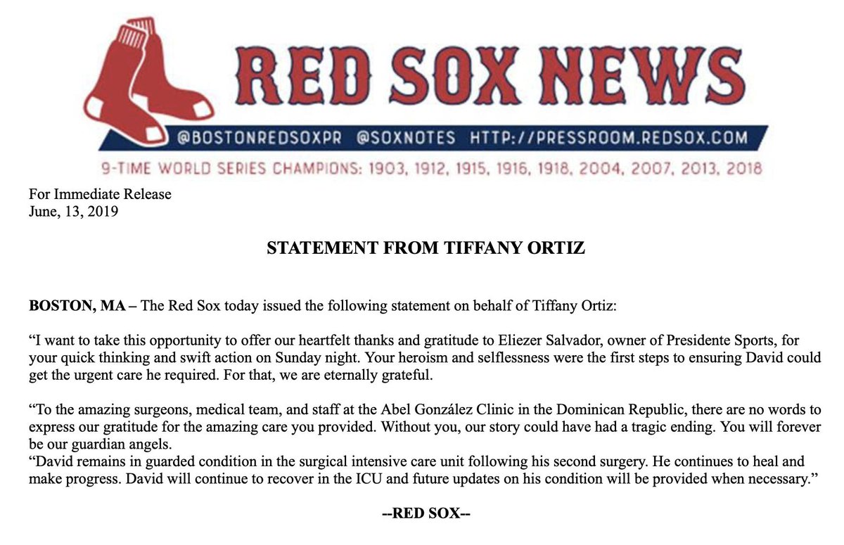 Latest #RedSox statement from Tiffany Ortiz thanking the Abel Gonzalez Clinic in DR for care of David Ortiz. No words to express our gratitude for the amazing care you provided. Without you, our story could have had a tragic ending. You will forever be our guardian angels.