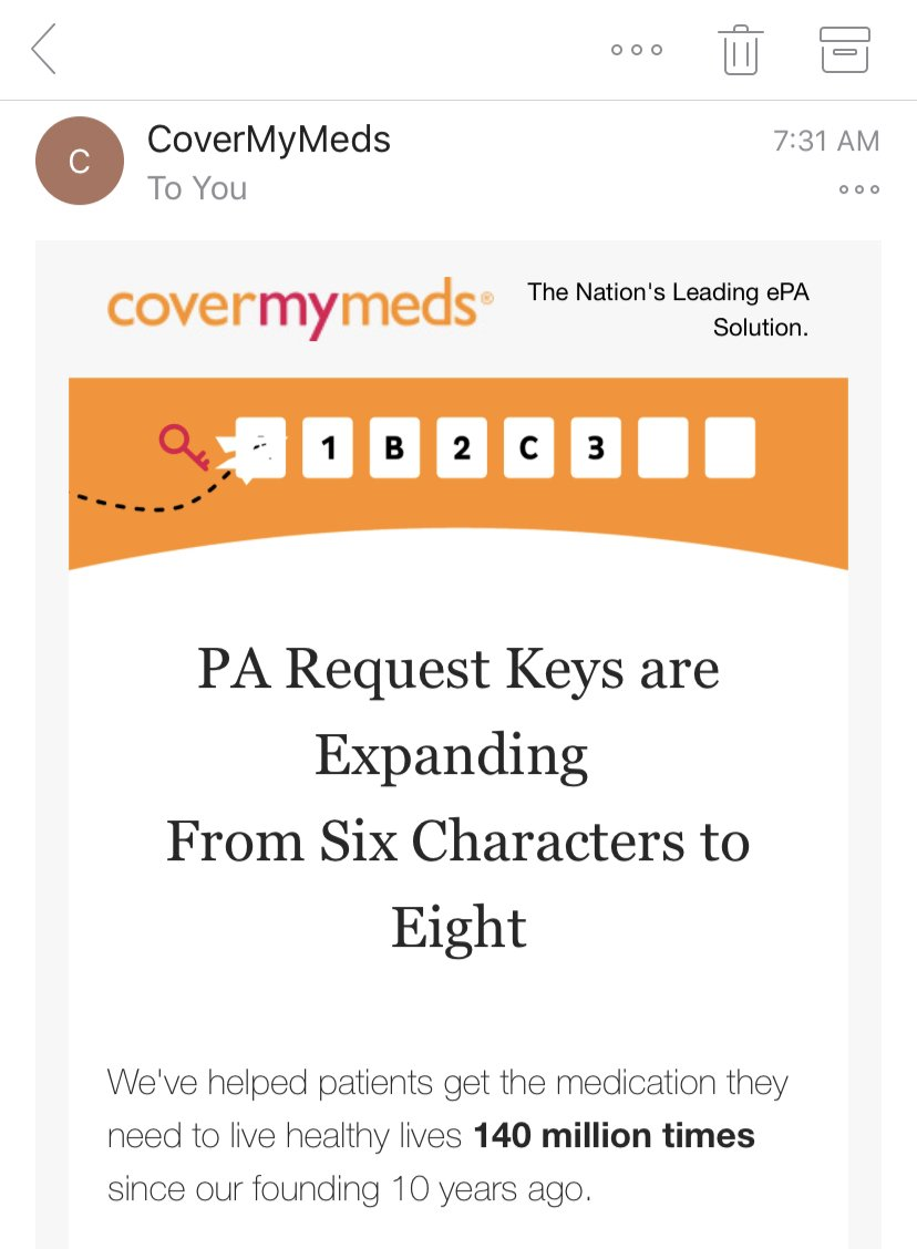 """If by """"helped patients get the medication they need"""", they actually mean """"prolong my patients' symptoms, increase their anxiety, and make me waste my time doing data entry busy work"""", then yes, @CoverMyMeds has been doing strong work for 10 years.  It's time to #FixPriorAuth"""