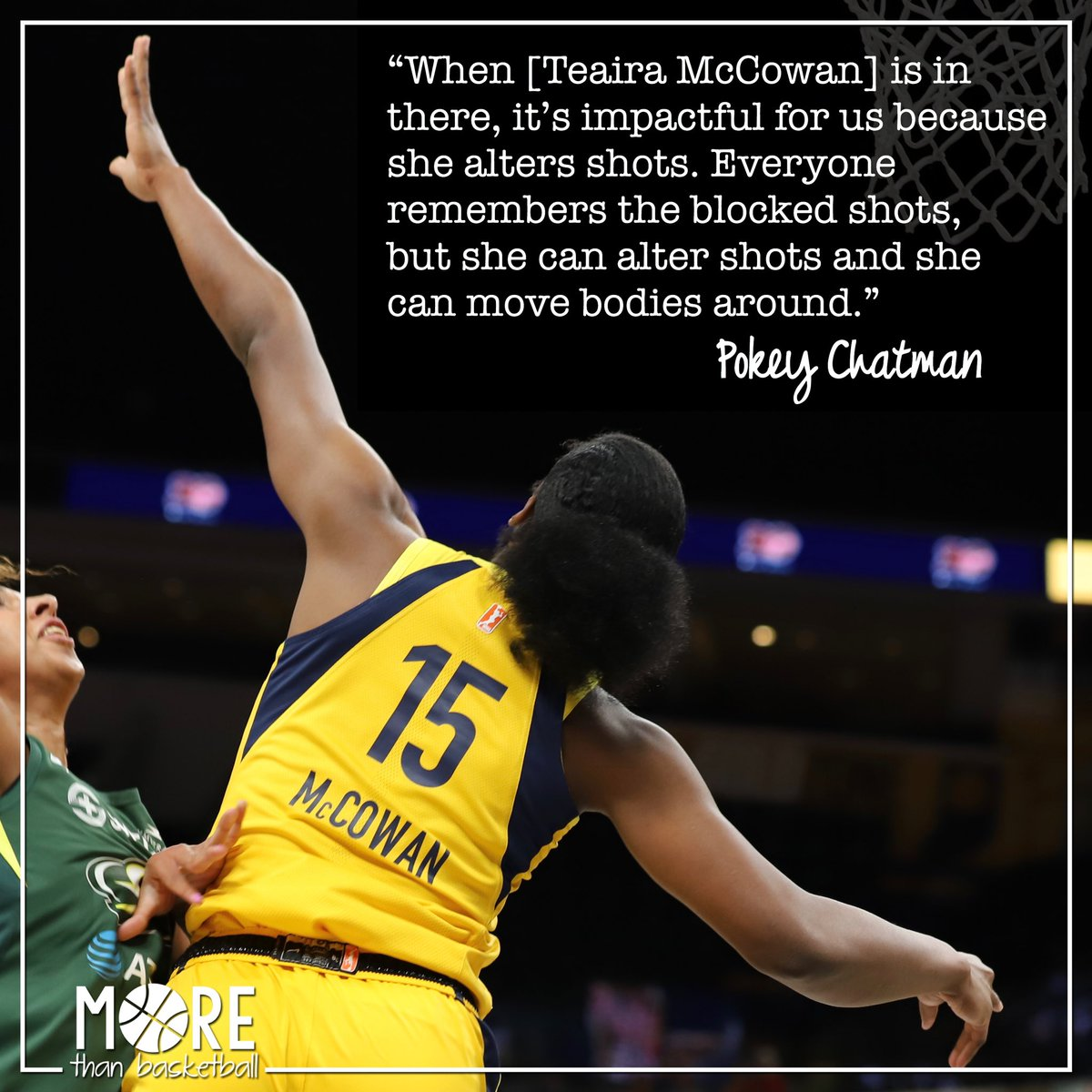 Head coach @pokeychatman knows @Teaira_15 is more than a blocking machine- her presence on the court alters shots and that's equally impactful in the @indianafever's defensive strategy. . #teairamccowan #allforlove #indianafever #fever20