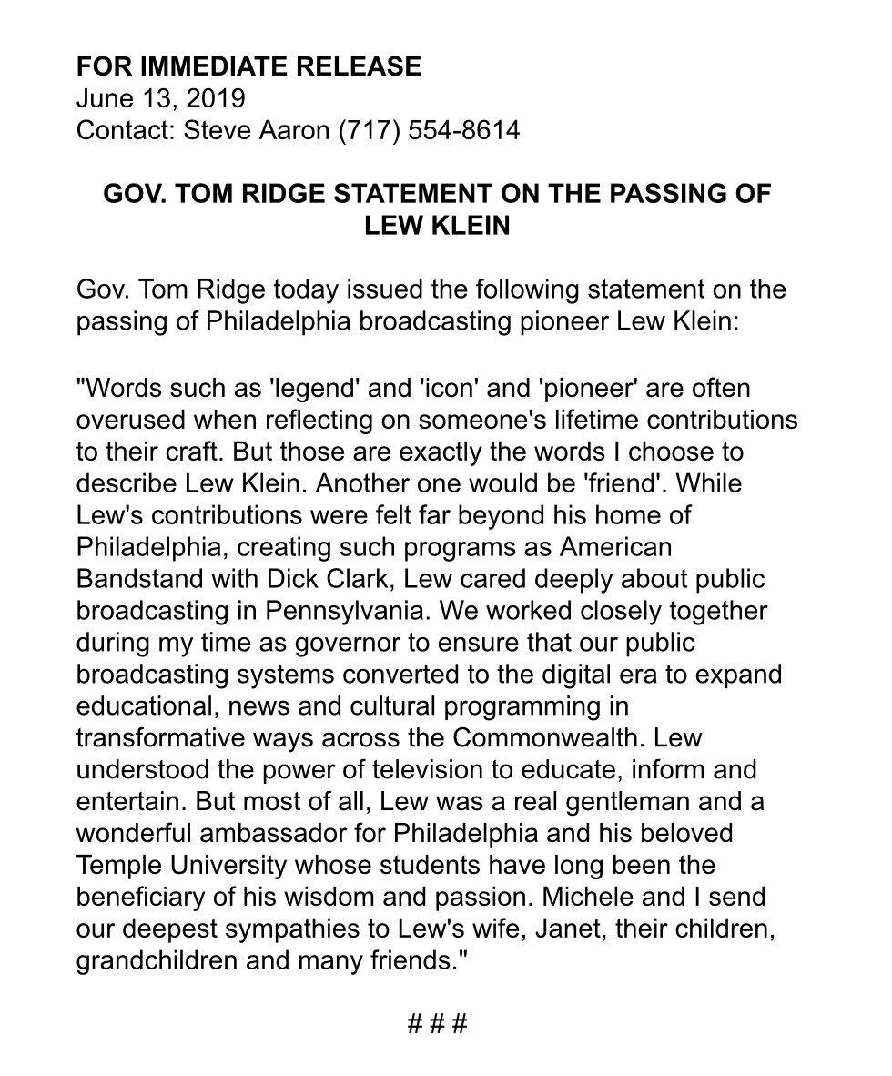 Gov. Ridge remembers broadcast pioneer Lew Klein.