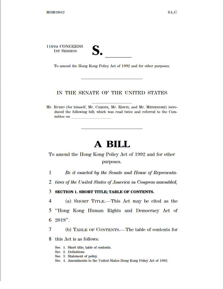 Commissioners @RepMcGovern, @MarcoRubio, and @RepChrisSmith today reintroduced the #HongKong Human Rights & Democracy Act, bipartisan & bicameral legislation that reaffirms the U.S. commitment to democracy, human rights, & the rule of law in Hong Kong. https://go.usa.gov/xmS8G