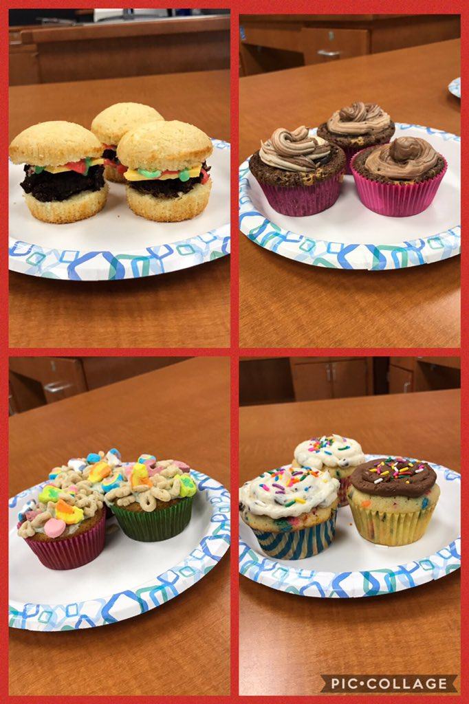 My subpar photography skills don't do these cupcakes justice! The winner of 2nd periods #cupcakewars final= the cheeseburger!  A brownie burger on a vanilla cupcake bun, topped with white chocolate cheese and frosting lettuce and ketchup. <br>http://pic.twitter.com/htrJaMcvrD