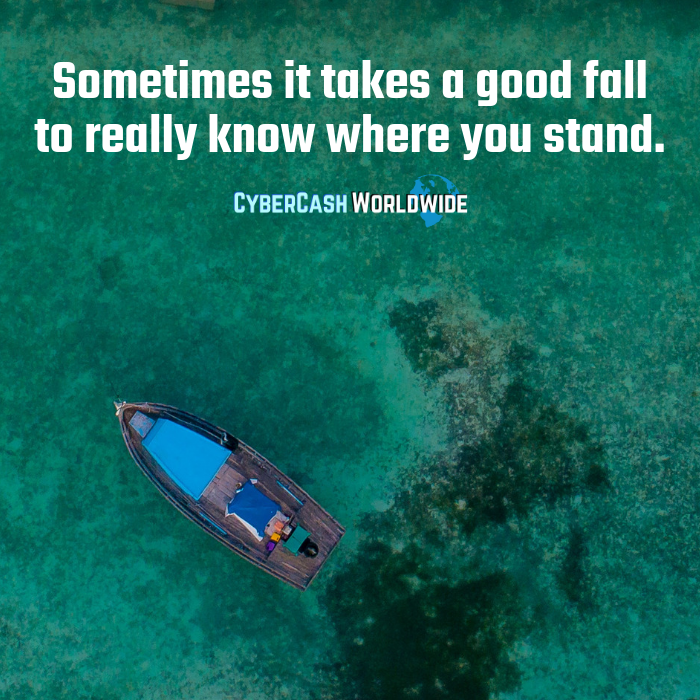 Sometimes it takes a good fall to really know where you stand.   http://www. cybercashworldwide.com     #positivechange #positivity #motivation #success<br>http://pic.twitter.com/SxM6DwYn8L