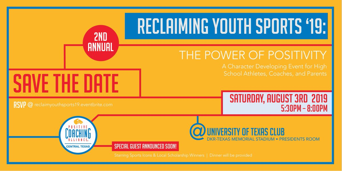 🚨Special Announcement!🚨  We have very exciting information to share about our Featured Guests for #ReclaimingYouthSports19!  Stay tuned on Monday for the news!    Get your tickets here: https://reclaimyouthsports19.eventbrite.com