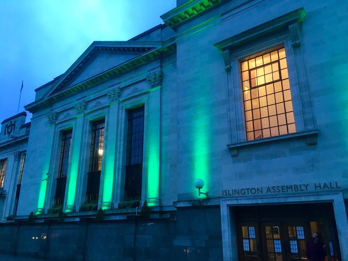 Islington Assembly Hall will be lit in green tonight, paying tribute to the 72 lives lost in the Grenfell Tower fire and the lives changed forever #GreenForGrenfell  @Islington_AH<br>http://pic.twitter.com/kdvYLtqMjW