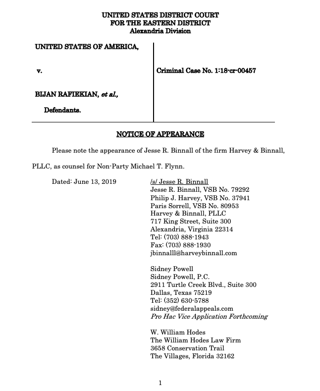JUST IN: Michael Flynn's new legal team is more than Sidney Powell. Several more attorneys -- Jesse Binnall, Philip John Harvey & W. William Hodes -- have entered notices of appearance in the EDVA case against Flynn's former business partner where Flynn is expected to testify.
