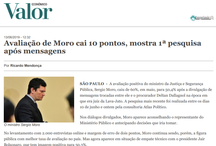 Avaliação de Moro cai 10 pontos, mostra 1ª pesquisa após mensagens