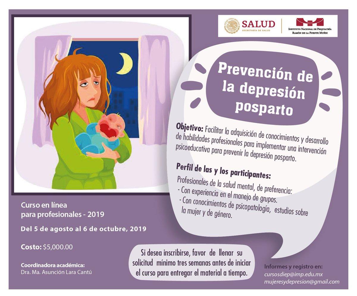 Con este curso en línea desarrollarás habilidades profesionalespara implementar una intervenciónpsicoeducativa para prevenir la#depresión posparto. http://www.inprf.gob.mx/opencms/export/sites/INPRFM/ensenanzanew/info_cursos/2019/depresion.pdf… @SaludDGPS, @SSalud_mx, @Seguro_Popular, @SS_Coahuila, @SSDurango, @salud_yucatan,@SaludGuanajuato