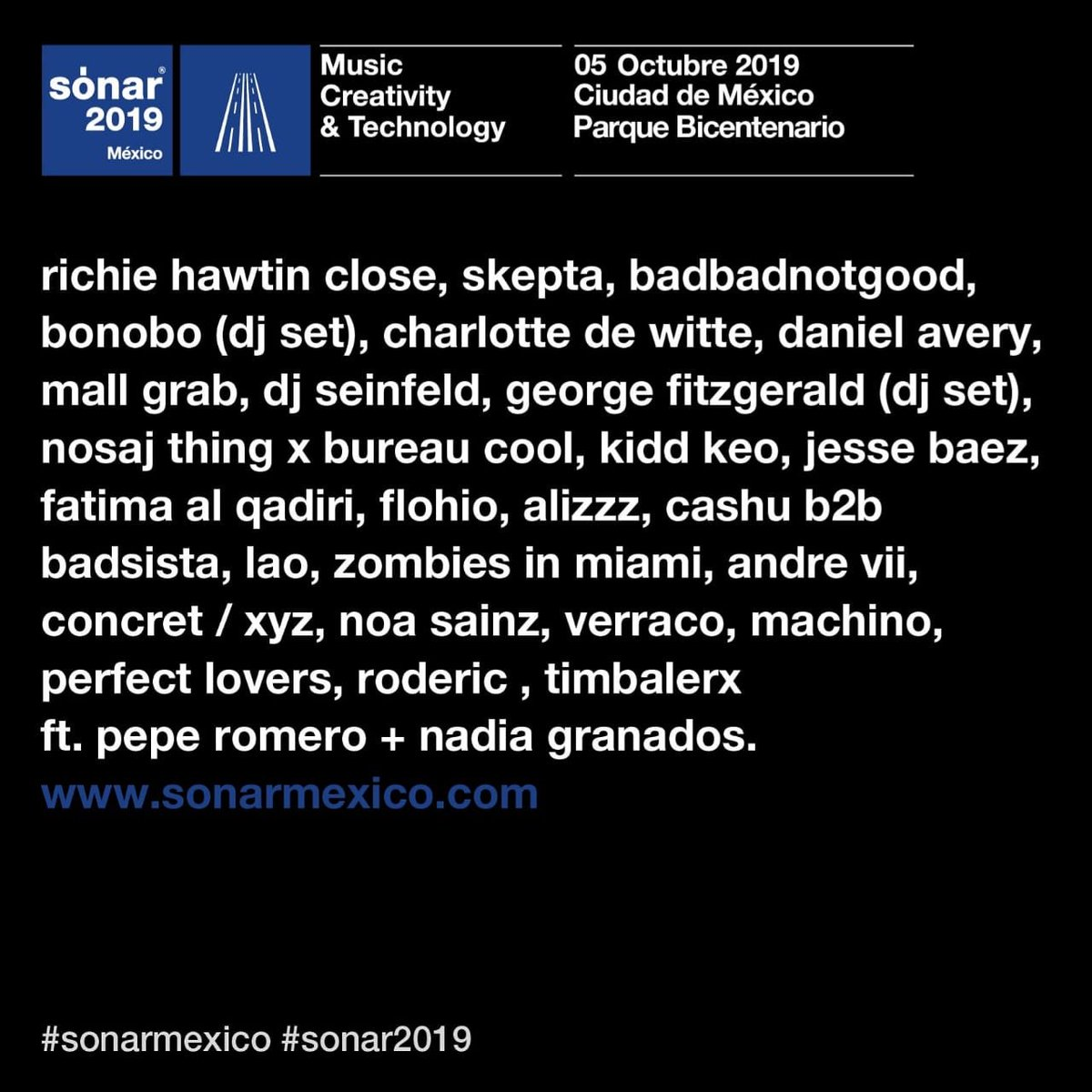 ¡Electrónica, hip hop y performance en #sonarmexico! 5 de Octubre en @parquebicentenariomx Boletos disponibles en la red Ticketmaster y taquilla del Parque Bicentenario. http://bit.ly/SonarMxBoletos