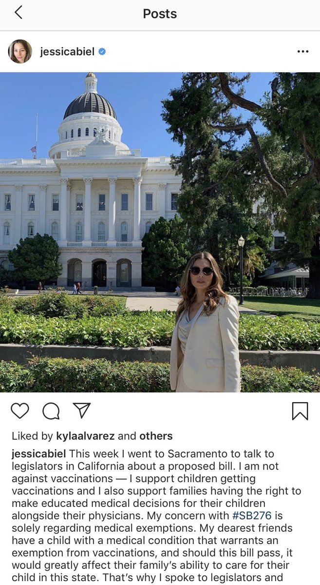"""Jessica Biel responds to backlash about her antivax views by stating in an Instagram post she supports making """"educated medical decisions."""" Make no mistake—this is very common language in the anti-vaccine world. I have never come across an antivaxxer who calls him/herself that."""