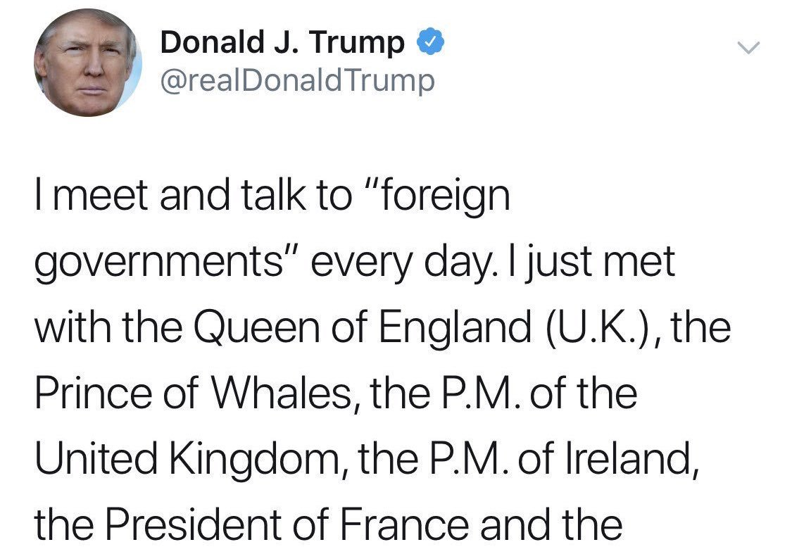 Not only did @realDonaldTrump just meet with the Prince of Whales, but he's scheduled to meet shortly with the Queen of Quails, the King of Kangaroos, the Princess of Possums, the Duke of Ducks, the Baron of Barracudas, the Marquis of Macaws, and the Countess of Cuttlefish.  <br>http://pic.twitter.com/P0LcHYP7p5