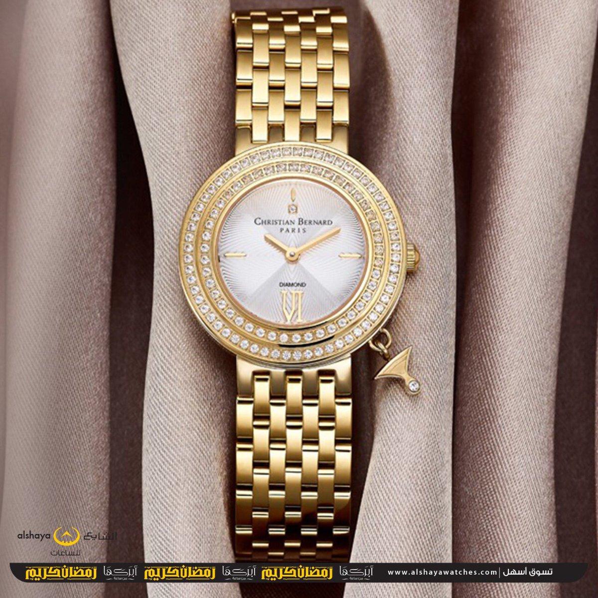 e21c051a0 ... ساعة بتفاصيل لون الذهب وحواف مرصعة بالألماس صنعت هذه #الساعة من  CHRISTIAN BERNARD تتميز بميناء مختلف ليجعل حضورك متميز عن الكل مع هذه  القطعة.