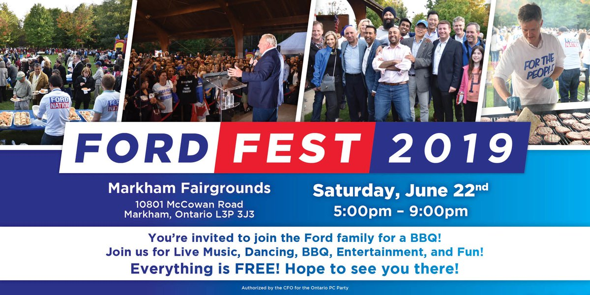 FORD FEST is back – bigger and better than ever!  Join the Ford family and our all-star PC team for a BBQ. It's going to be a great evening filled with entertainment and lots of #FordFest fun!   Everything is FREE – register today at http://FordFest.ca