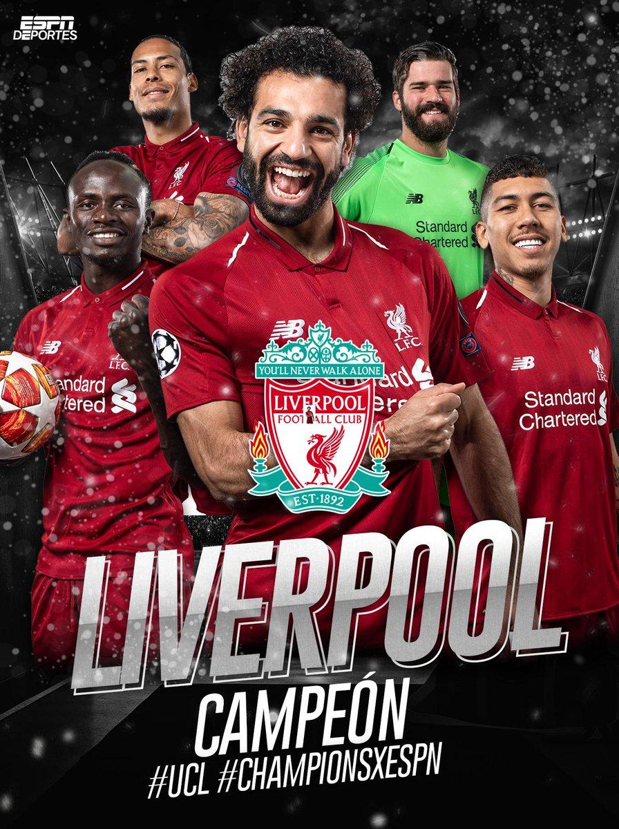 Los 'Reds' 🔴 son campeones de la Champions League.   Sexta Champions League para el @LFC    C-A-M-P-E-O-N-E-S 🏆  #UCLFinal #ChampionsxESPN https://t.co/CTbE5kAJ7I