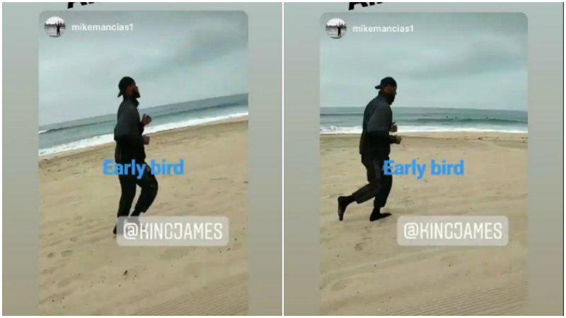 【影片】晨練!詹皇7點半現身洛杉磯海灘跑步  一身寬鬆黑衣優哉游哉!
