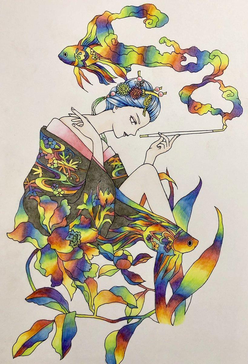 test ツイッターメディア - #コアマルージュ の金魚のおねーさんを塗り進めました。虹色鉛筆が薄かったところはダイソーの安く硬い色鉛筆で少々補完しました。背景どうしようかなー。 #大人の塗り絵 #ダイソー  #虹色鉛筆 https://t.co/3HdH1Z11YL