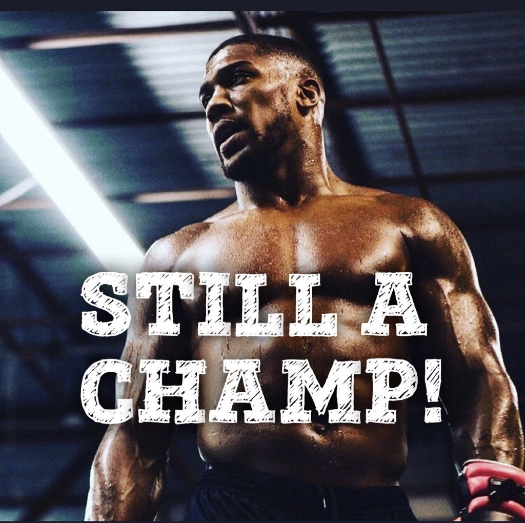 Still my world best Heavyweight champ anyday anytime @anthonyfjoshua ..Winning alone doesn't determine champion but bouncing back from defeat does.. #Ajcomingback #champforever