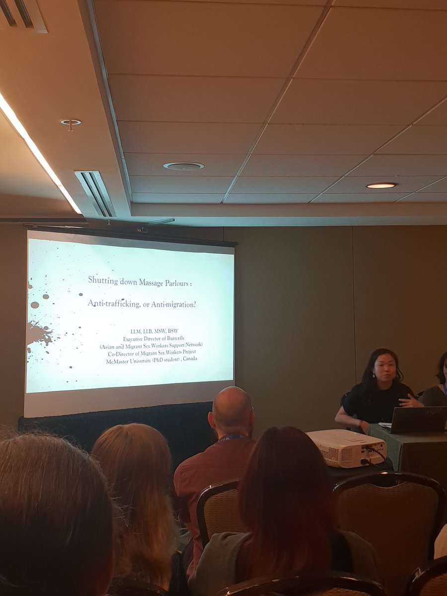 Elene from @ButterflyCSW unpacks impact of conflation of trafficking & migrancy. Biased license fees for rub $13,000 per year! The moral panic of the Asian massage parlour in Toronto yet city takes high fees from Asian women exploited in other jobs. #crn6_dc2019 #lsa2019<br>http://pic.twitter.com/mcTXll27zo