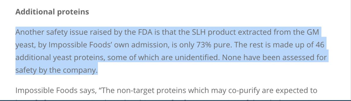"""The Impossible burger is marketing themselves as a """"safe"""" alternative.  But it's really toxic, impure garbage.  - There are 46 unidentified proteins. - It is only 73% pure  The company is worth > $1 BILLION from feeding you poison.  Shameless money grabbing attempt EXPOSED."""