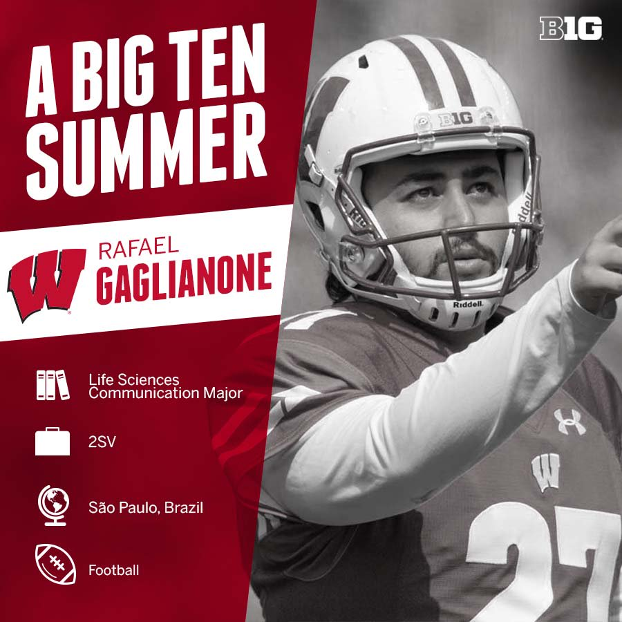 After graduating this spring, Rafael Gaglianone of @BadgerFootball is headed home to work for a company that bridges opportunities for international students to receive scholarships in the USA. #B1GSummer