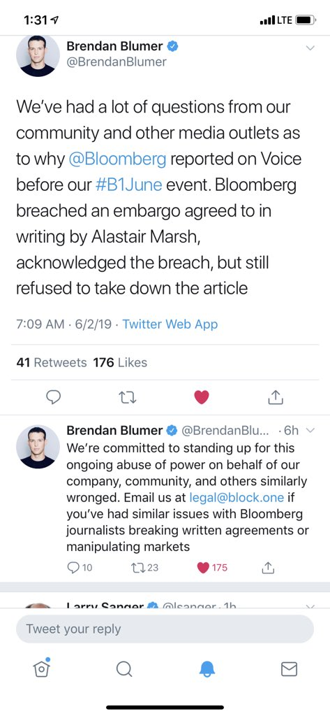 "EOSIO community please unite, UNFOLLOW and UNSUBSCRIBE from @bloomberg and @business as well as any other Bloomberg entities! Their greed to be ""first"" has cost us and we can't let this go unnoticed.  Please retweet! #b1june #eos @eosio @block_one_"