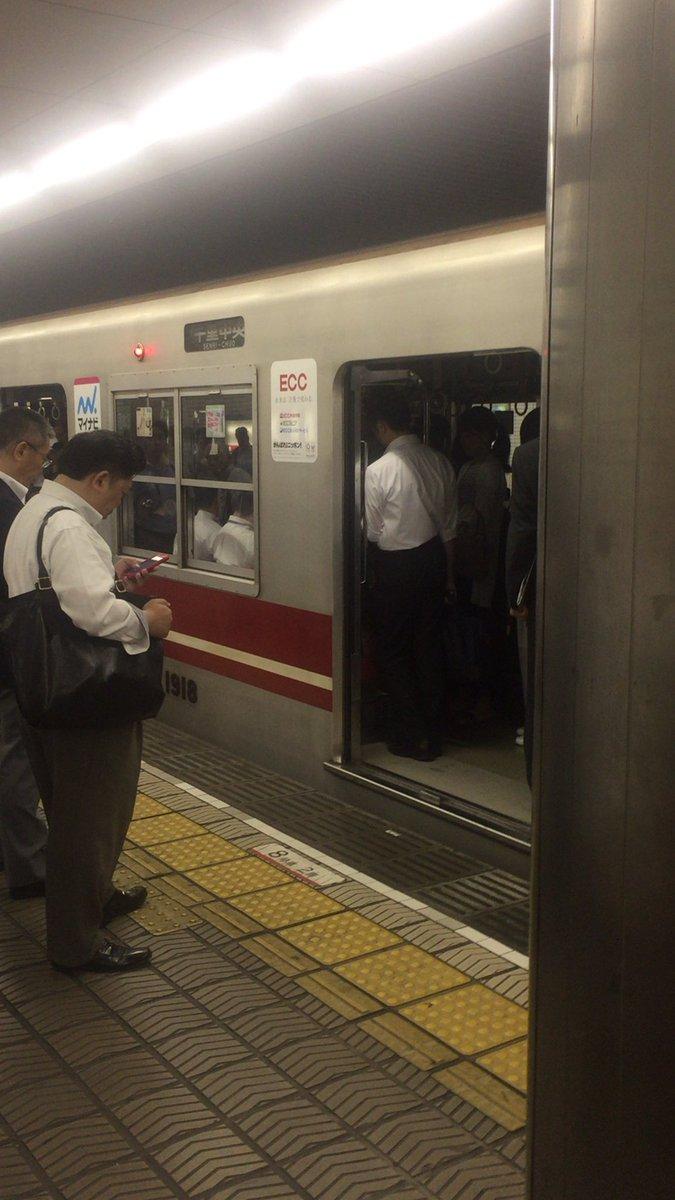 御堂筋線の長居駅で人身事故が起きた現場画像