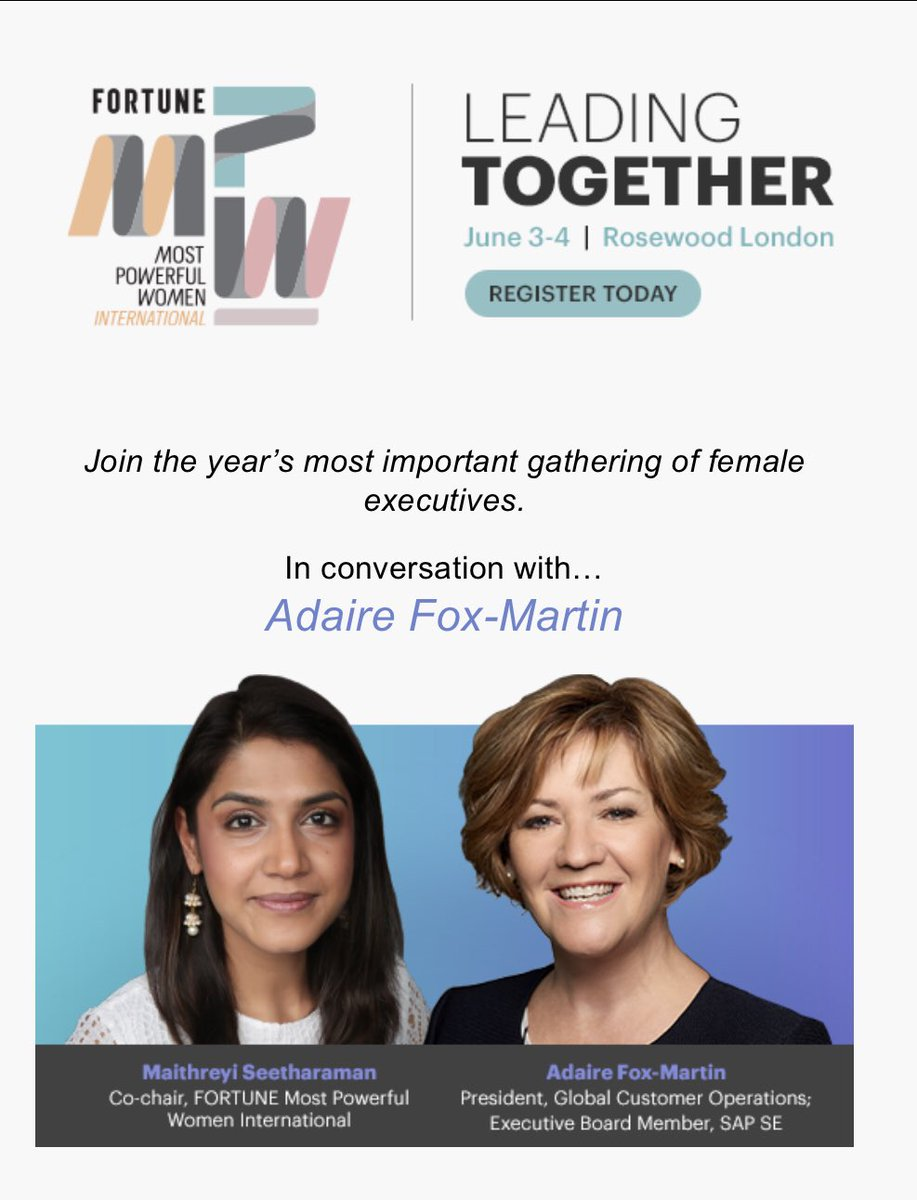 """""""In this world of creation and abundance, we will win through collaboration,"""" @AdaireFoxMartin reflects on the theme of """"Leading Together"""" for this week's Fortune Most Powerful Women International Summit. @SAP @FortuneMPW https://www.fortuneconferences.com/most-powerful-women-summit-london-2019/in-conversation-with-adaire-fox-martin/…"""
