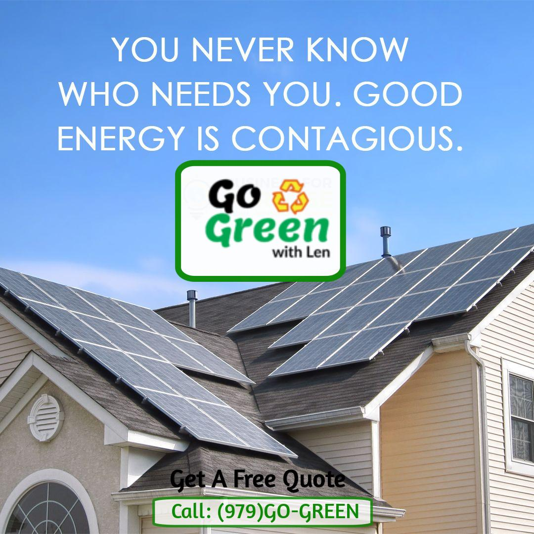 Say YES to #GreenEnergy & create zero carbon footprints in your life. Switch to #SolarEnergy - Meet #SolarExperts in #DFW #Texas to get a free quotes & consulting CALL - (979)GO-GREEN #GoGreenWithLen #Solarpanels #solarGNP #solarheater #solarsystempic.twitter.com/I8aGodBWVI
