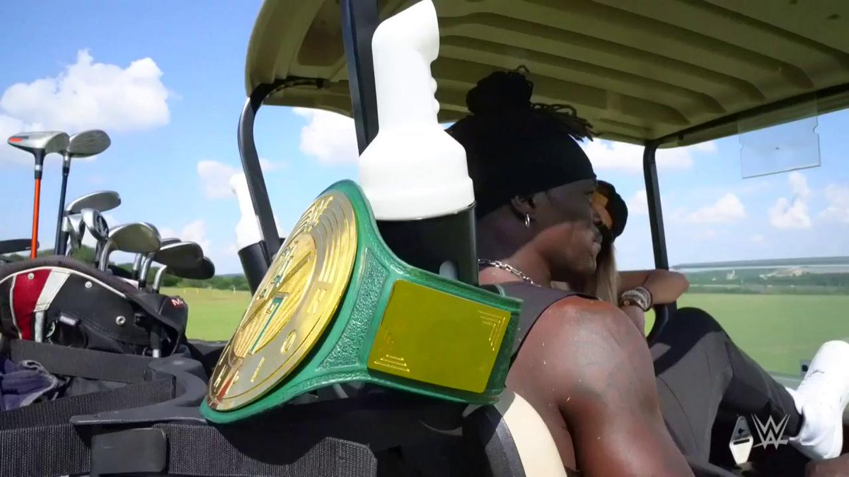 So much for a relaxing Sunday! @JinderMahal AMBUSHED @RonKillings on the golf course to (very briefly) win the #247Title! @CarmellaWWE