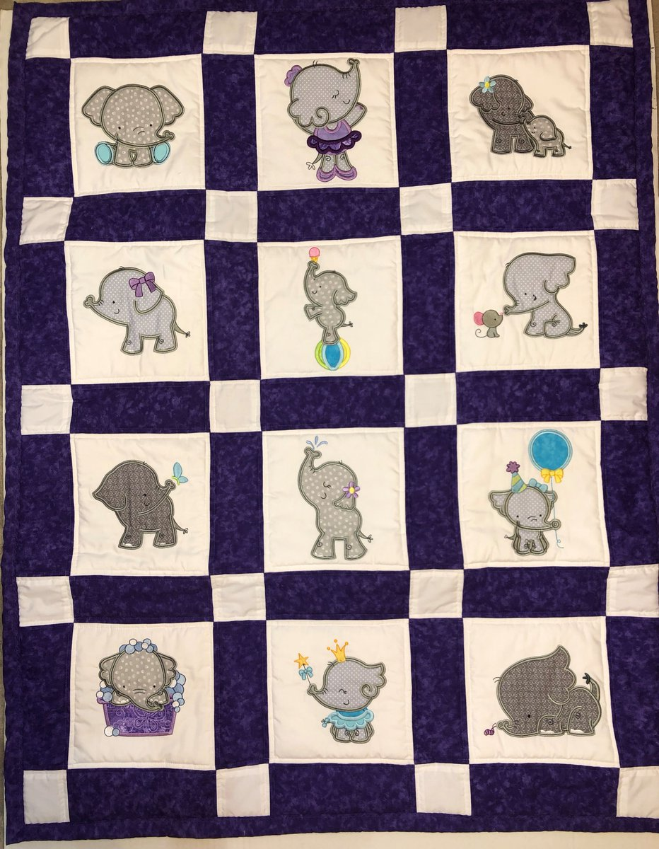 Patricia made this darling quilt for her granddaughter using Elephants Applique. Just too cute!  https://www.bunnycup.com/embroidery-design-Elephants-Applique …  #embroidery #machineembroidery #embroiderydesigns #elephantsapplique #applique #quilt #appliquequilt #bunnycup #bunnycupembroidery #broderie #handmade