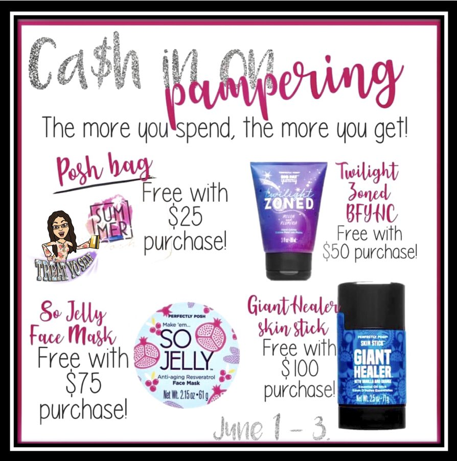Don't miss out on a FREE gift with your order. Promotion ends June 3! #perfectlyposh #poshtheskinyourein #promotion #freeproduct #pamperyourself #youdeservetobepampered #naturallybasedproducts #giftideas #fathersday #cantmissthis #ordertoday #selfcare #selflove