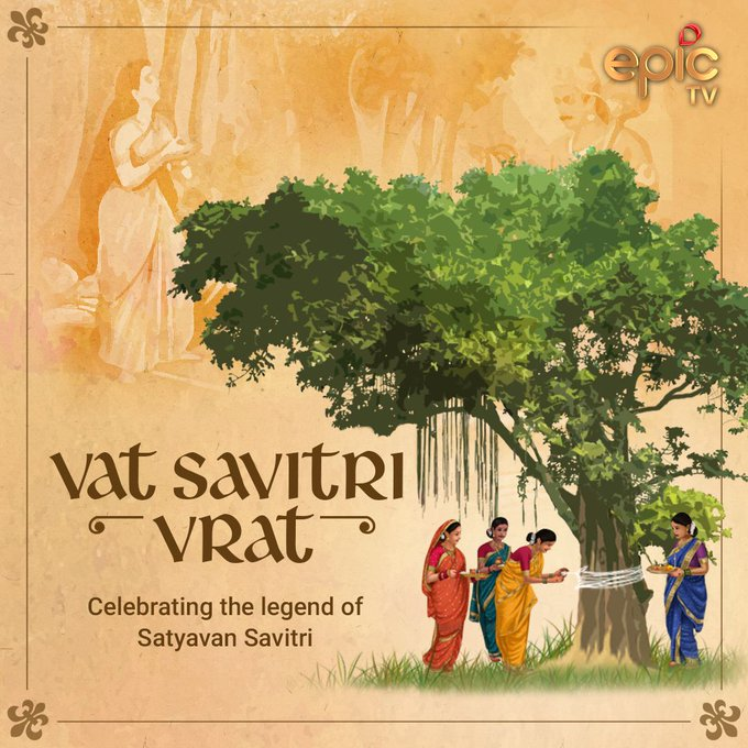 Vat Savitri Vrat is a festival observed by married women in the month of Jyeshta, for long, healthy lives for their husbands. It is observed on Amavasya day in northern India and on Purnima day in southern India. Fasting, puja, and a feast at night are part of the celebrations.  IMAGES, GIF, ANIMATED GIF, WALLPAPER, STICKER FOR WHATSAPP & FACEBOOK