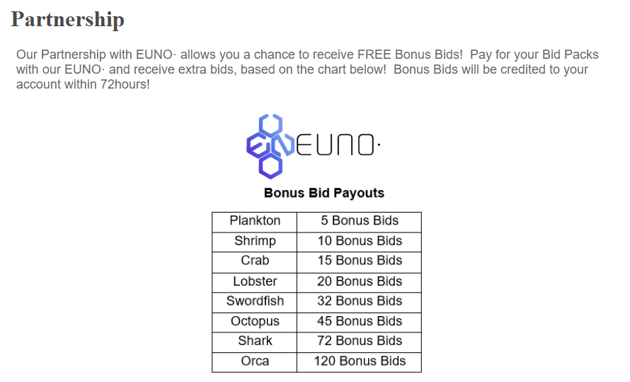 Did you know that if you use our partner coin EUNO to buy bid packs you can earn BONUS BIDS on https://t.co/Lrqae0PEvm?  Come check us out and take a chance at winning Crypto for a price even your mother would approve of!   https://t.co/PW25IUbM0v  #BTC #LTC  #ETH #EUNO #XRP #XMR https://t.co/HYz0kBbLCq