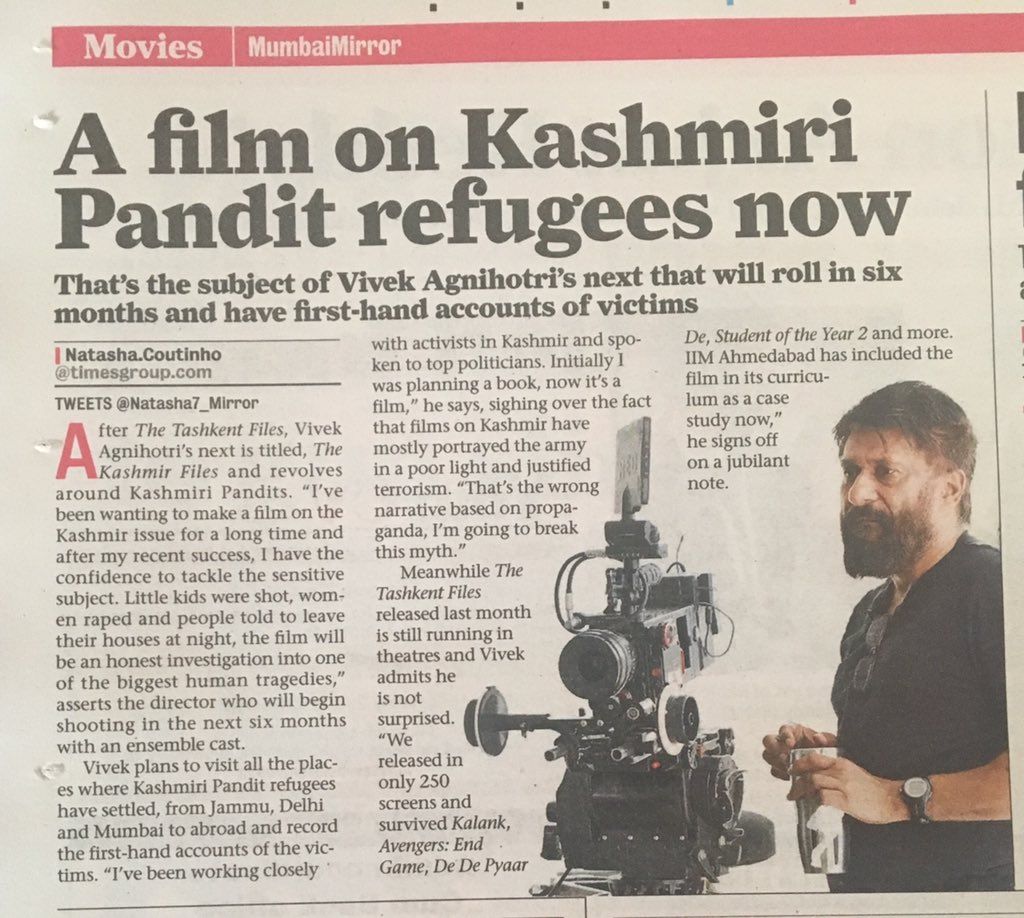 Ok friends, its official.   My next film is an investigation on Kashmiri Pundit issue.