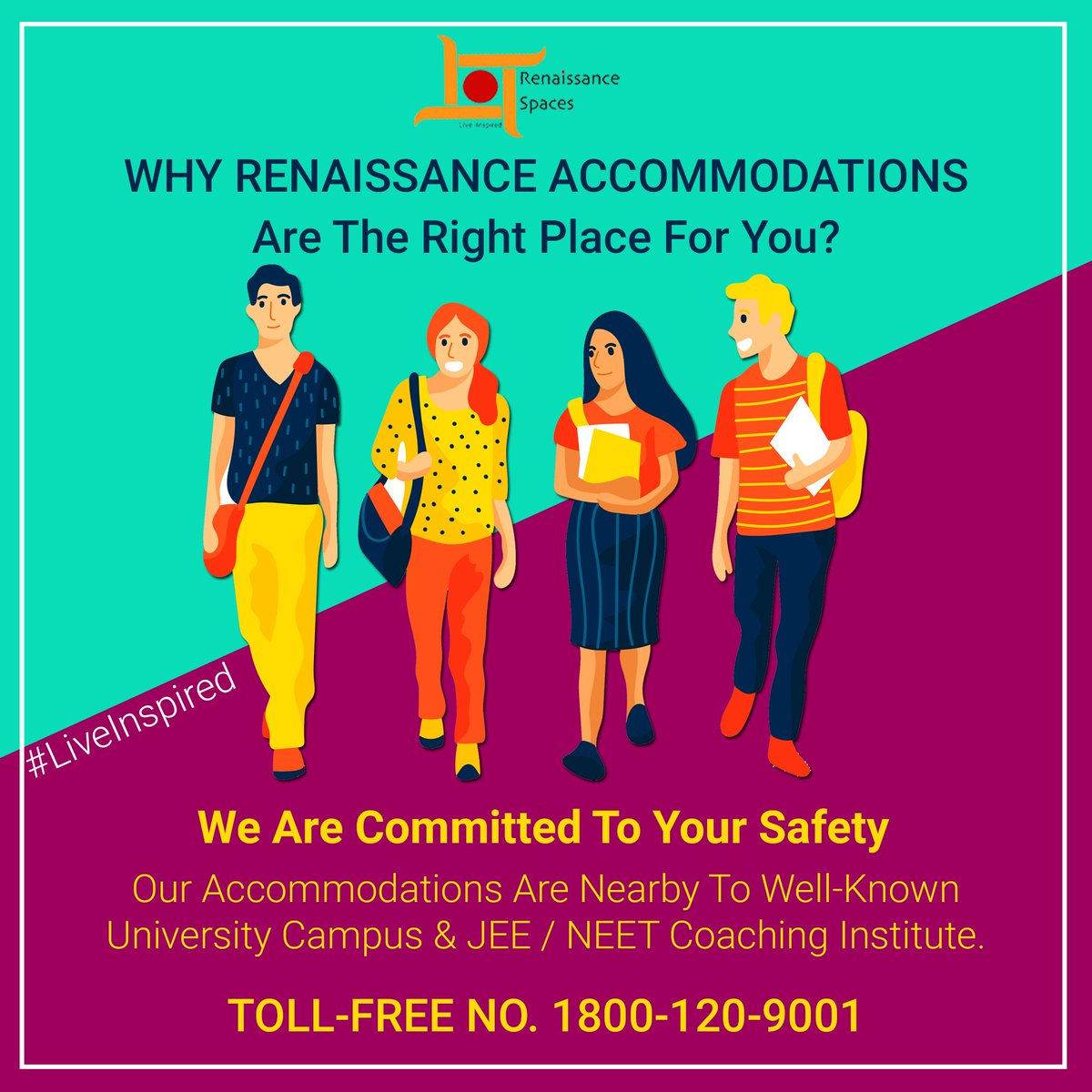Why Renaissance accommodations are the right place for you? Our Accommodations Are Nearby To University Campus & Well-known #JEE / #NEET Coaching Institute. Call: 1800-120-900 Visit: http://www.renaissance-spaces.in #JustFeelIt #DelhiUniversity #DU #NorthCampus #SRCC  #Allen #Resonance