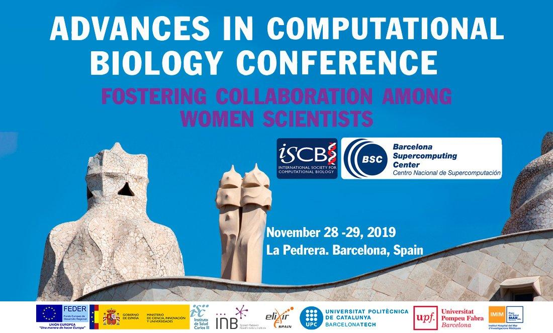 #AdvCompBio A conference to promote women's research in computational biology 🗓️28-29 November, Barcelona   👩🏽‍💻 Submit your abstracts by 1st July, do not miss it!! 🌐https://www.iscb.org/advcompbio2019  #Bioinformatics #HPC #omics #PersonalizedMedicine #AI #WomenInScience #WomenInTech