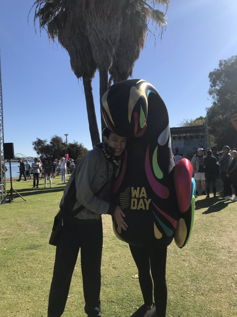 Pre-Mascot Race pics: Wally the WA Swan is the mascot of the @wadayfestival and there are a few of them and I got photos with all of them https://youtu.be/PWhRBQhpaB8   #WADay #WADay2019 #wadayfestival #perth #burswoodpark #swanmascot #mascotlove #mascotlife #justanotherdayinwa