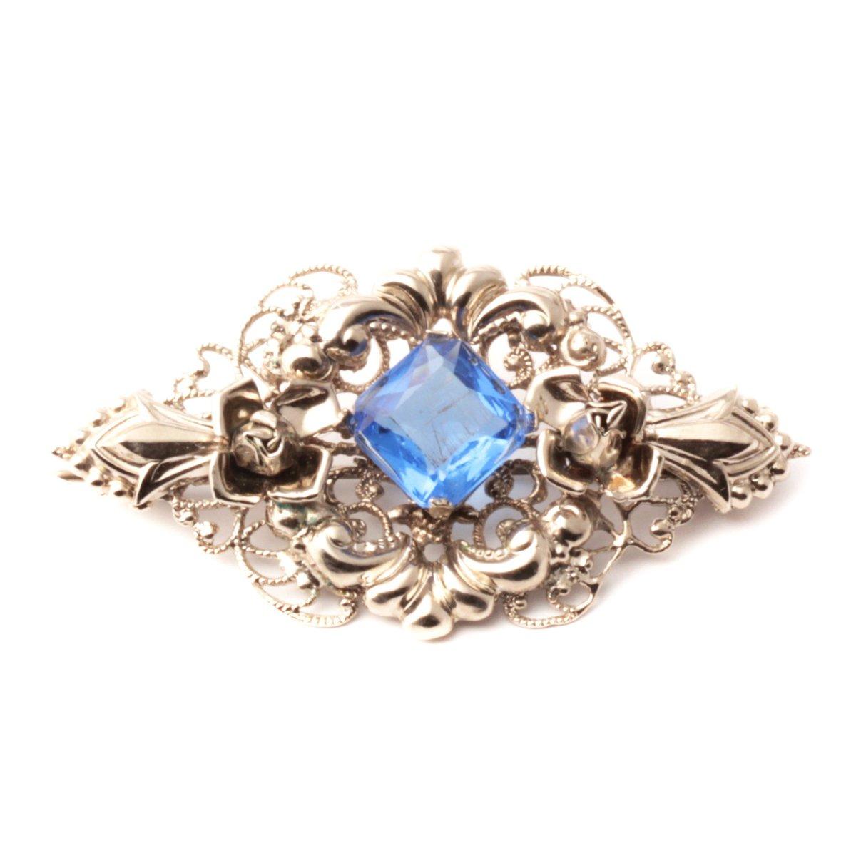 0083f5c4e #etsy shop: Vintage Art Deco Czech blue square glass rhinestone floral  filigree silver pin brooch https://etsy.me/2QOjuYF #jewelry #brooch #silver  #blue ...