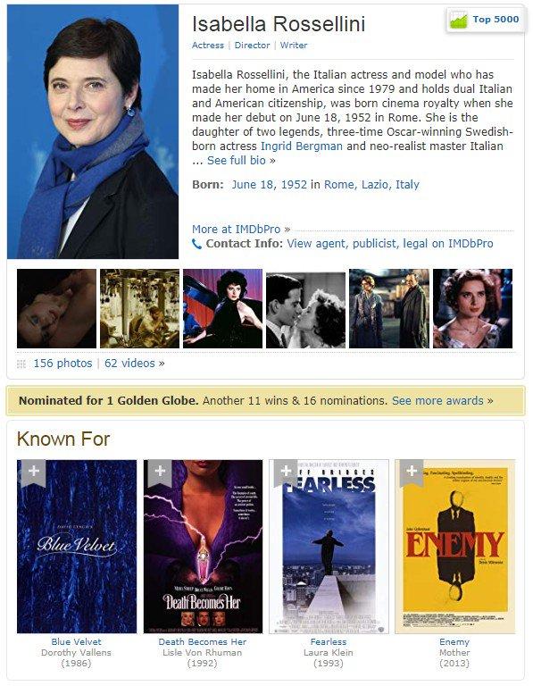 "#UnDiaComoHoy nacieron -Isabella Rossellini. Nom. #GoldenGlobes 1997 Mejor Actriz Película TV por ""Crime of the Century"" -Kim Dickens. Serie TV ""Fear the Walking Dead""  -Richard Madden. #GoldenGlobes 2019 a Mejor Actor Serie TV Drama por ""Bodyguard"" -Willa Holland. Serie ""Arrow"" <br>http://pic.twitter.com/Jg1cunTqNh"