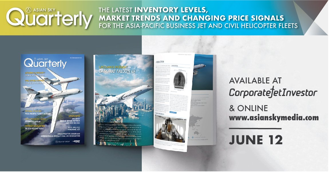 Keep an eye on the market with new perspectives – featuring the latest #businessjet flight activity, pre-owned market data and industry opinions. Asian Sky Quarter 2019Q2 will be available on June 12th at #CJIAsia2019 and http://asianskymedia.com . #AsianSkyGroup #AsianSkyMedia