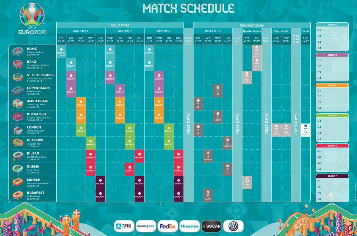 Uefa Calendrier 2020.Uefa 2020 Schedule Pdf