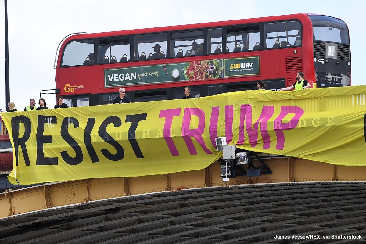 Protesters hold anti-Trump banner from London's Vauxhall Bridge as Pres. Trump makes state visit to the U.K. https://abcn.ws/2MAVr0S